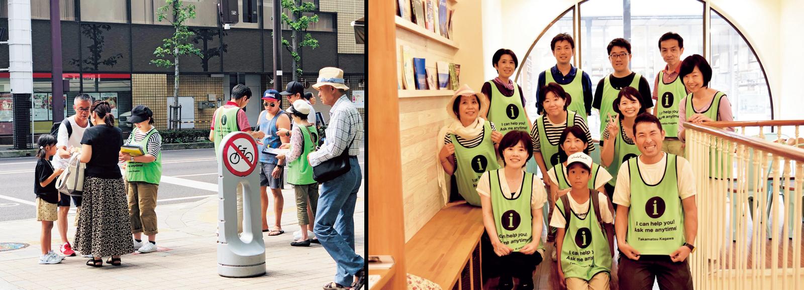 生徒と一緒に「おもてなしボランティア」を結成。街頭で外国人旅行客に道案内や困りごとを聞くボランティアを行っている。