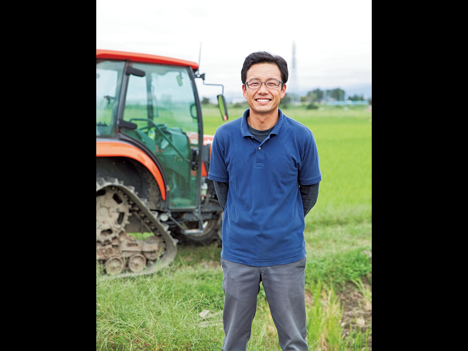 就農前は車の整備・販売会社に勤めていた佐渡さん、38歳。若手農家として地域からも期待されている。
