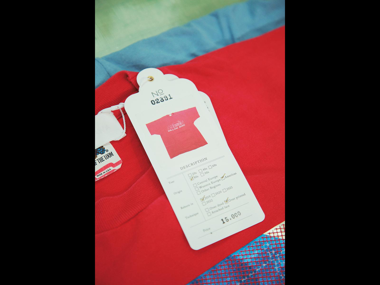 タグには元の衣類のスペックを表記。