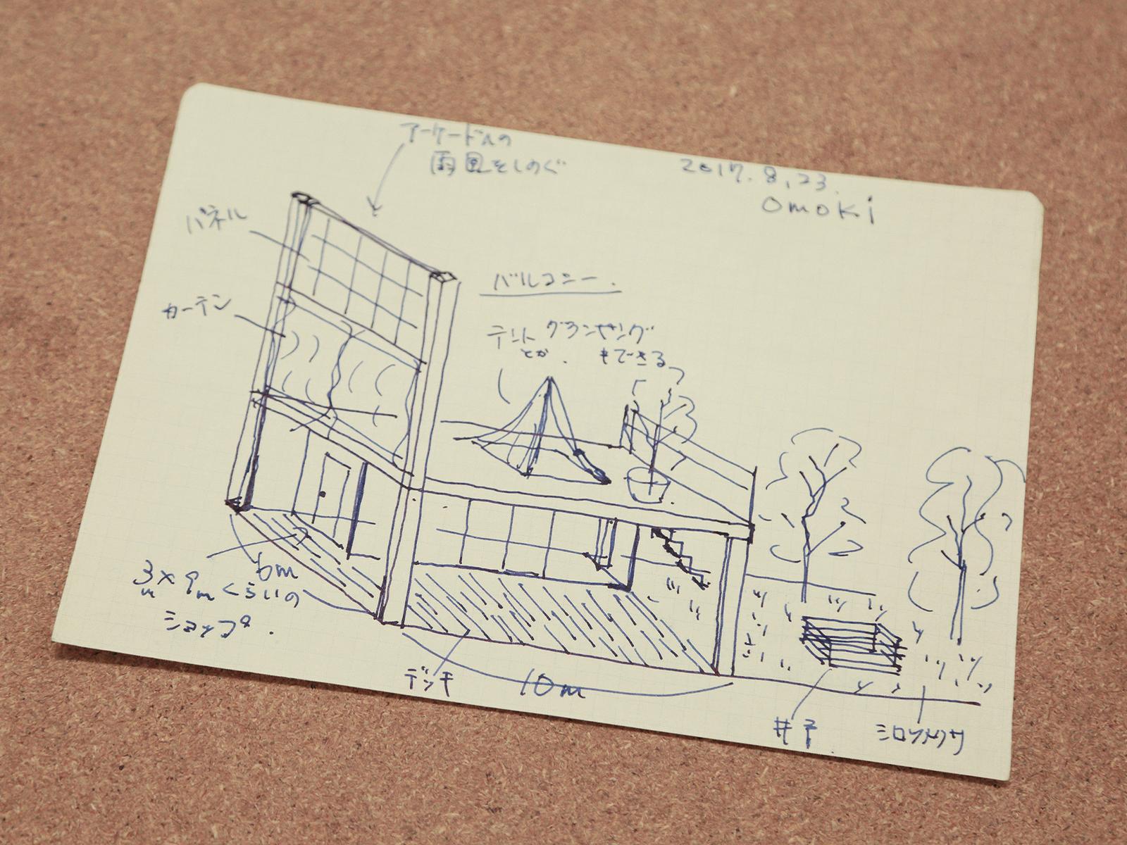 面木さんが、現在の空間づくりの際に描いたスケッチ。