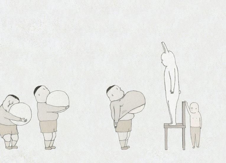 第16回(2012年)文化庁メディア芸術祭アニメーション部門優秀賞受賞作品「グレートラビット」。「不服従」をテーマに、フランスのプロダクションと共同で制作された作品。0.3ミリの細い線と淡く抑えた色味でこれらの登場人物や背景を描く。