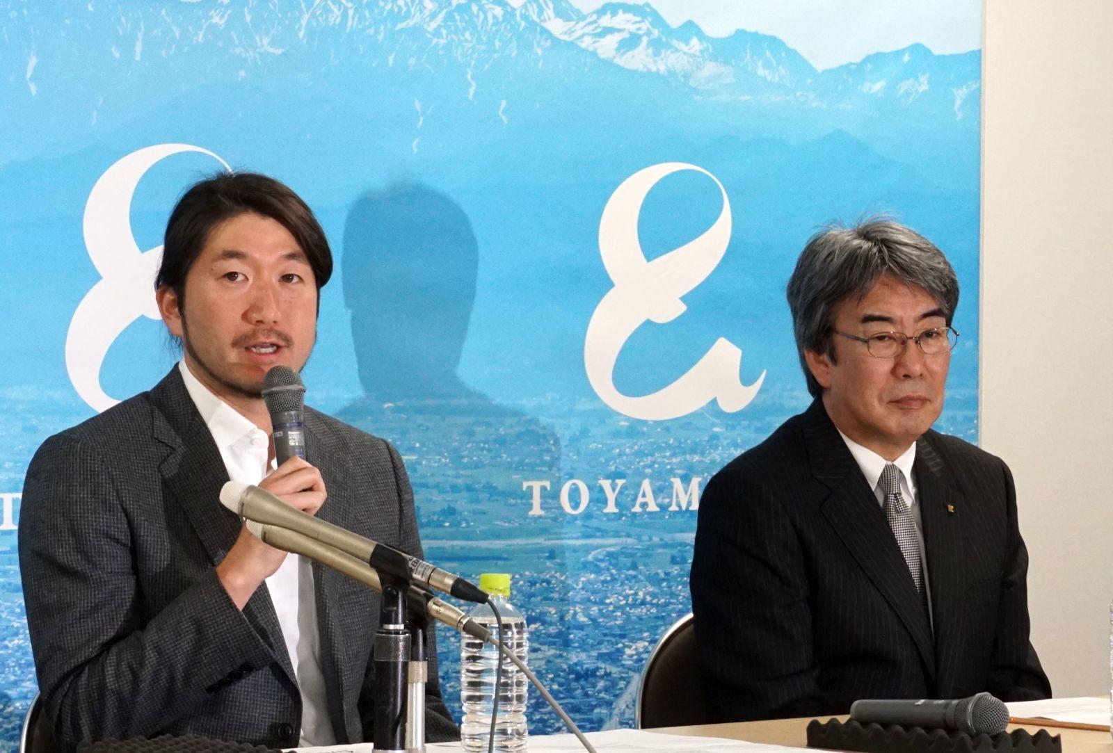 (左)千葉ロッテマリーンズ 石川歩 (右)北日本新聞社 駒澤信雄