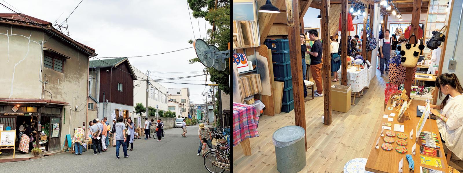 週末は『ヨリドコ大正メイキン』のショップと、『人魚棟』のセルフカフェ・古書店オープン日(人魚棟は土曜のみ)。遠方から訪れる人も大勢いる。