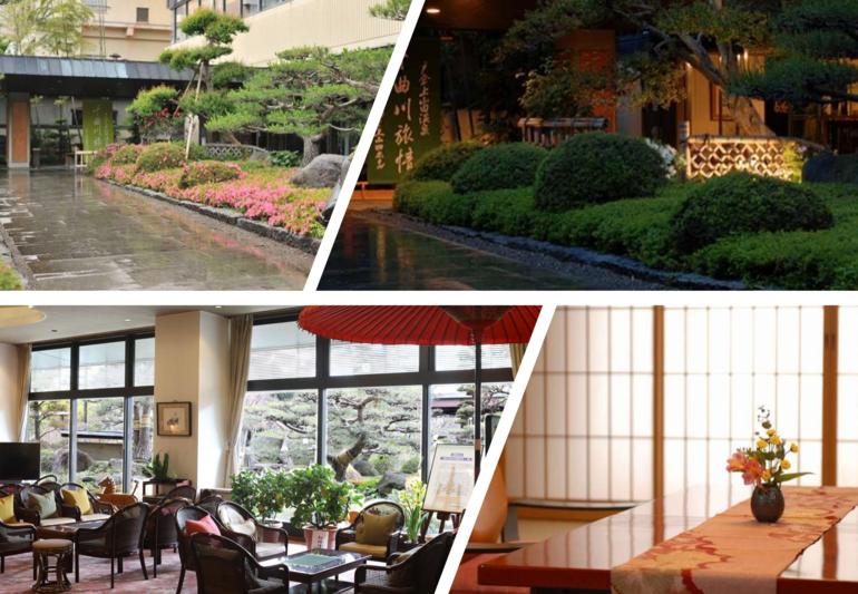 温泉街の風景を彩るエントランスと部屋のイメージ