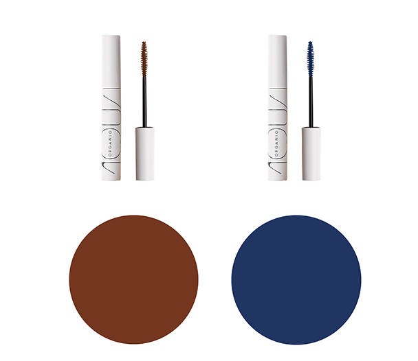オーガニックロングマスカラ 新色2色(左:ブラウン 右:ネイビーブルー)各 2,500円(税抜)現在発売中