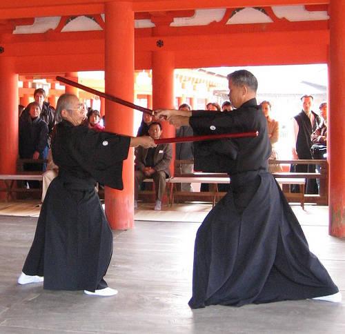 袋竹刀を使用した演武