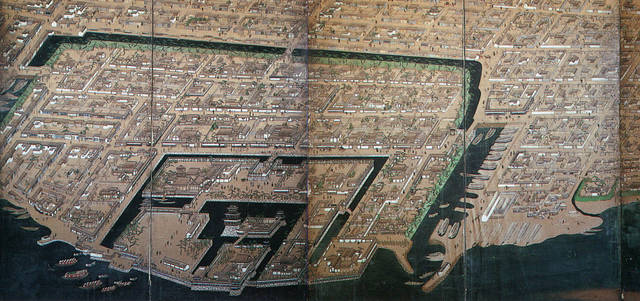 高松城および城下町絵屏風(松平公益会蔵)