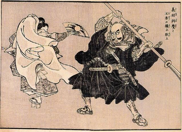 五条大橋での戦いを描いた浮世絵