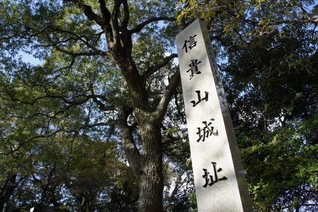 頂上より少し下がった場所にある「信貴山城址」碑