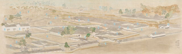 江戸時代の弘道館を描いた鳥瞰図。その広大さがわかります。