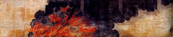 『伴大納言絵詞』(部分)炎上する応天門。