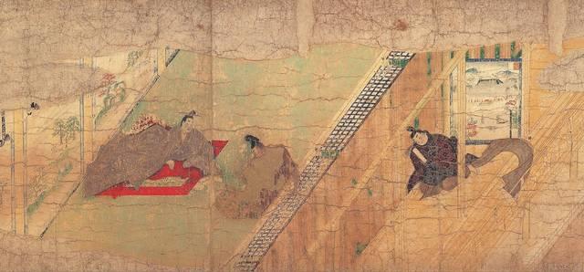 『伴大納言絵詞』(部分)。清涼殿で清和天皇(左)に対面...