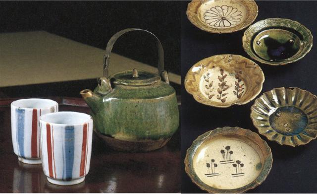 北大路魯山人作「有平縞湯呑」(左)と、江戸時代の「織部皿」