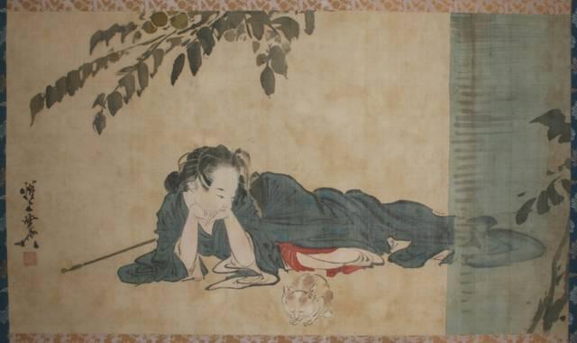 河鍋暁斎「横たわる美人と猫」河鍋暁斎記念美術館蔵