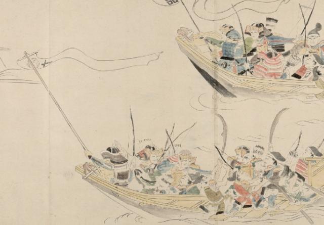 『蒙古襲来絵詞』に描かれる島津久親の旗紋。