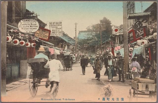 明治期の横浜。こちらは馬車道通りに近い元町通り。