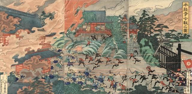 題名は「本能寺合戦之図」となっていますが、上野寛永寺で...