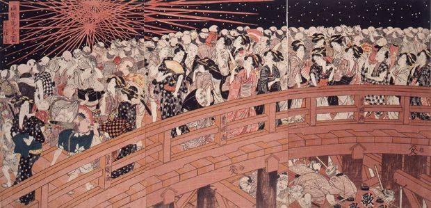 歌川豊国「両国花火之図」。両国橋で見学する人々を描いたもの。