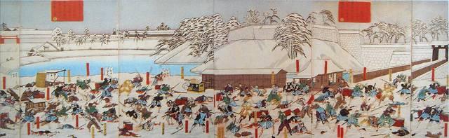 井伊直弼が暗殺された「桜田門外の変」を描いた浮世絵。