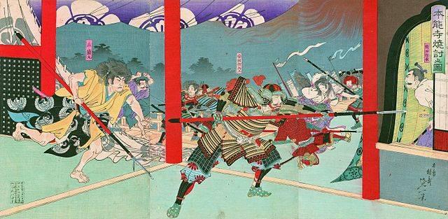 錦絵 本能寺焼討之図(名古屋市所蔵)