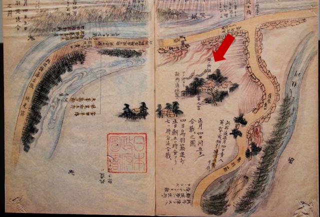 淀の戦いにおける布陣図には、錦の御旗の位置も記されている。