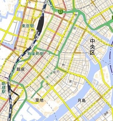 国土地理院による現在の銀座周辺の地図