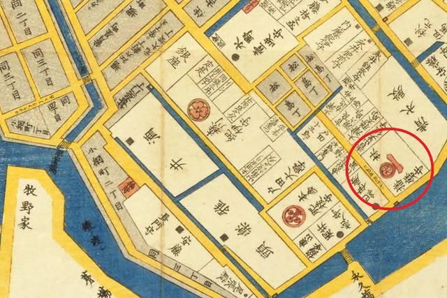 「江戸切絵図」日本橋北神田浜町絵図より。赤丸の部分が林家屋敷