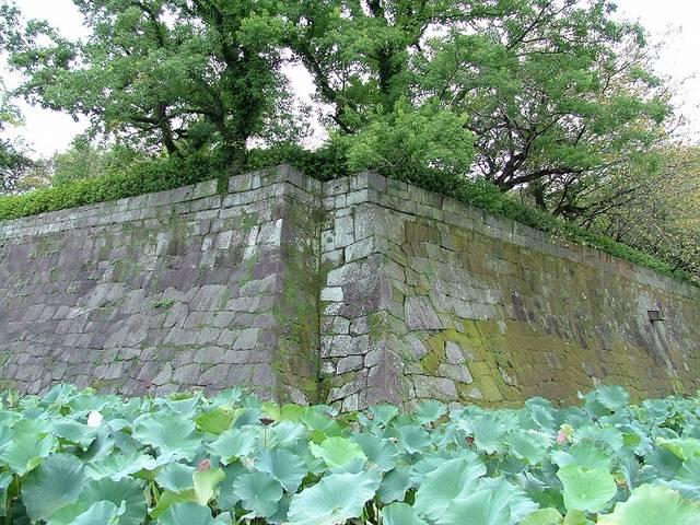 【本丸北東隅の石垣】鬼門除けに切り欠きが入っている。