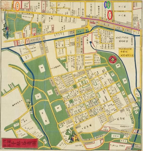 地図の北側が、今の新宿になります。