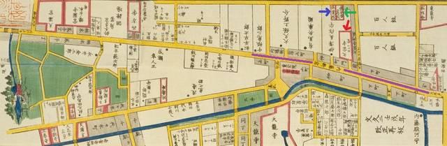 地図東側、文字も含めて紫の線が内藤新宿のエリア。