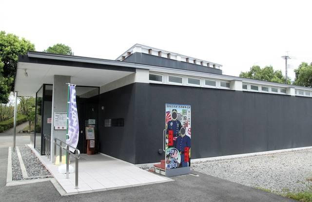 熊本市田原坂西南戦争資料館。入り口には西郷隆盛と谷干城...