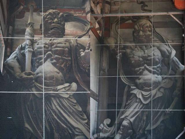 東大寺南大門の金剛力士立像、阿形像(左)と吽形像(右)