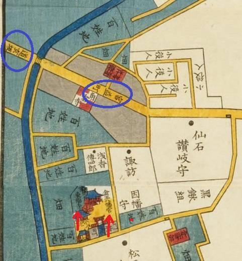 青丸で道玄坂と宮益坂を、赤矢印で金王八幡宮と東福寺を示...