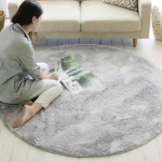 ラグ 丸型 円形 150 cm シャギー ラッテ 洗える おしゃれ 北欧 かわいい (シルバー) (9467)