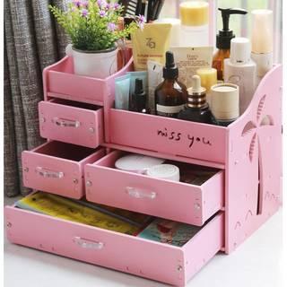 メイクボックス コスメボックス ジュエリー ボックス アクセサリー ケース 自分組み立て式 収納 雑貨 小物入れ 化粧道具入れ 化粧品収納 便利 (ピンク) (9468)