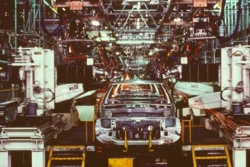 Car in an assembly line, Za...