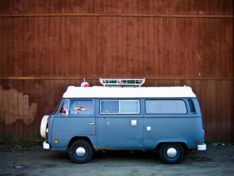 A vintage Volkswagen Bus si...