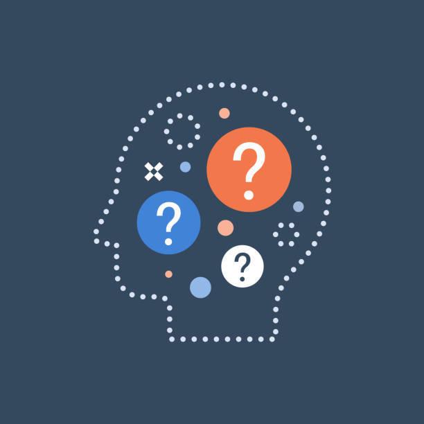 難しい選択、意思決定、行動科学、自己質問、好奇心の概念