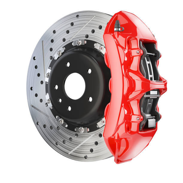 ブレーキ ディスクとキャリパーの赤。ブレーキ システム
