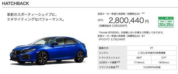 ガソリン車|タイプ・価格|シビック ハッチバック|Honda (12627)
