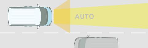ヘッドランプをハイビームにして走行中、前方に対向車や先...