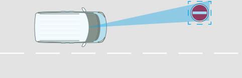 走行中に進入禁止の標識を検知すると、ヘッドアップディス...