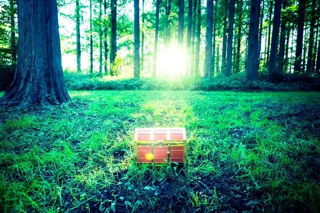 勇者は森の中で宝箱を見つけた!|ぱくたそフリー素材 (71659)