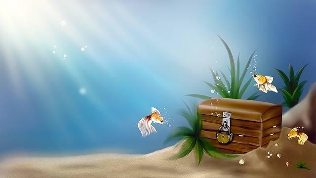 Free illustration: Chest, Treasure, Sea, Fish, Drawing - Free Image on Pixabay - 805006 (33427)