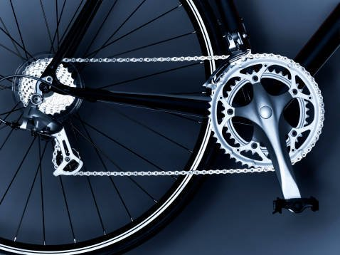 Close up of bicycle chain, ...