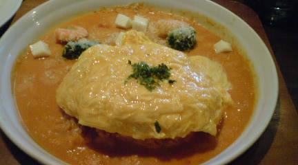 海老とモッツァレラチーズのトマトクリームオムライスドリア|うさぎのしっぽ 猫のあしあと (201)