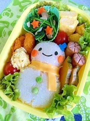 簡単キャラ弁☆ゆきだるまのお弁当♪