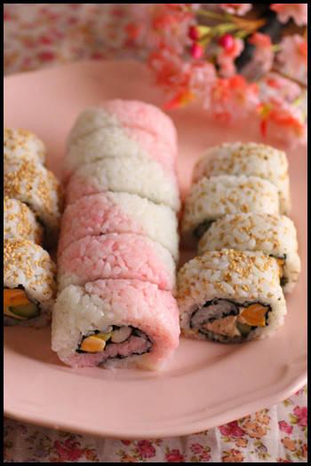 ひな祭りパーティーレシピ♪紅白巻き寿司と菜の花ペペロンチーノなどなど|ビジュアル系フード (797)