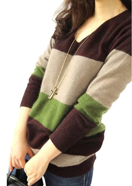 Amazon | (エクスパース)xpath レディース Vネック 切り替え 長袖 セーター ニット ボーダー 三色 ロングスカーフ二点セット | セーター 通販 (1361)