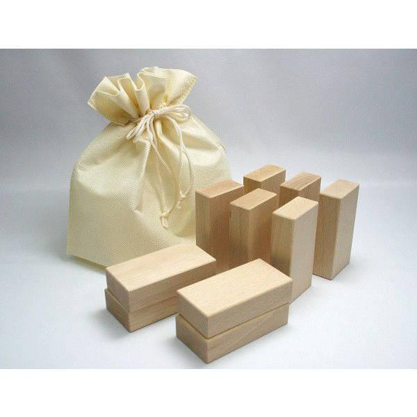 Amazon | 高級国産白木積み木 巾着型収納袋付き 10個入り Dセット | 木のおもちゃ・積み木 通販 (2507)